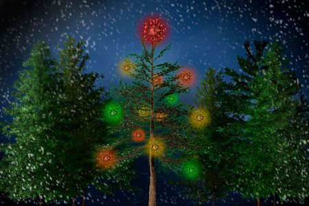 A Christmas tree is decorated with coronaviruses - 3D-illustration