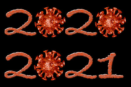 Years 2020 and 2021 with virus instead of zero - 3D-illustration