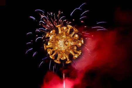 dangerous viruses spread during fireworks - 3D illustration