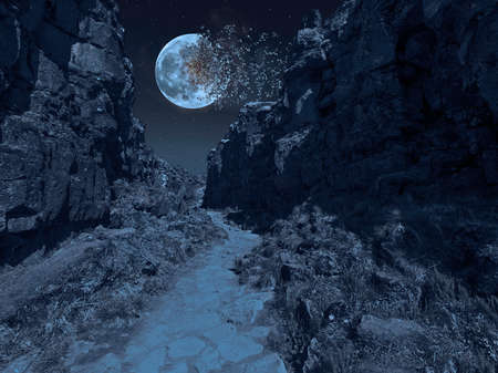The moon has exploded and is falling apart over a ravine