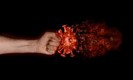 A fist hits the virus which dissolves