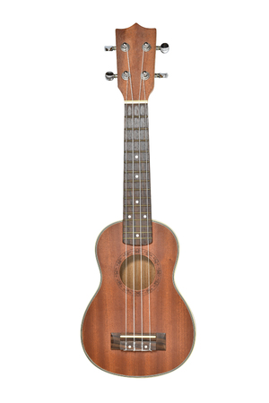 Acoustic music instrument, isolated ukulele on write background.