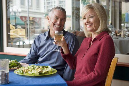 Couple enjoying a romantic meal outside