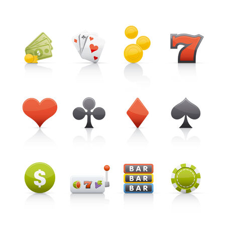 Casino elements icon set Vector