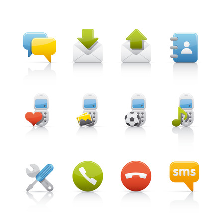 inbox: comunication and mobile icon set