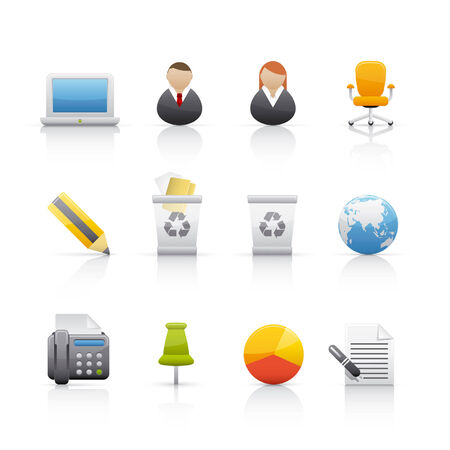 garbage man: Office and business icon set