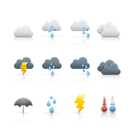 cloud vector: weather and climate icon set