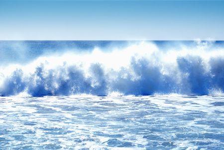 Thunderous Pacific Ocean waves crashing the California shore from the Santa Ana winds
