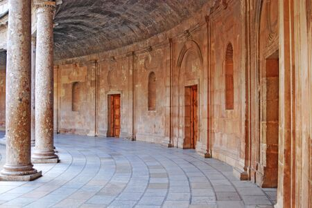 Circular walkway in the Central Courtyard at the Alhambra in Granada Spain