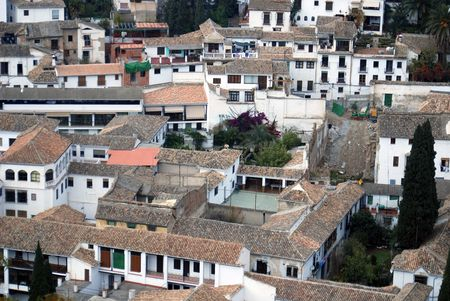 europeans: Aerial view of housing in Granada, Spain- For the most part, Europeans hang dry their clothes and linens, as seen in the photo.