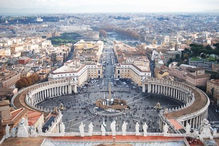 Aerial view of Saint Peters Square in Vatican City in Roma, Italia Europe.  Construction in center of square.