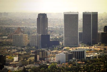 Buildings located in Century City, California.  Century City is located in West Los Angeles where many entertainment moguls call home.