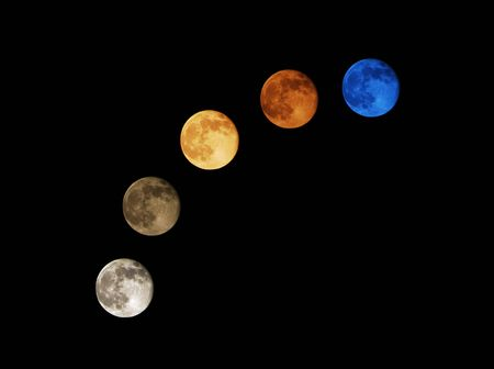 Moon, vivid and bright, due to the California wildfires and airborne particles.
