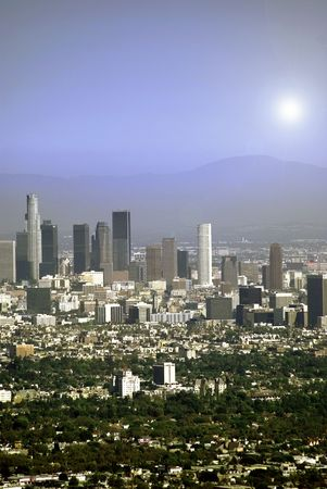 Los Angeles downtown cityscape and mountain landscape photo