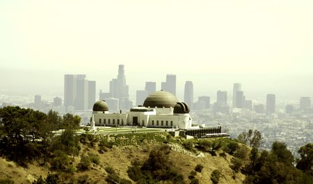 Griffith Observatory from Griffith Park facing downtown Los Angeles California.