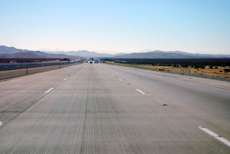 Interstate 15 heading west from Las Vegas, Nevada to Los Angeles, California. Stock Photo