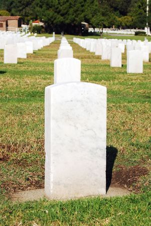 national military cemetery: Tombstones lined up in the Los Angeles National Cemetery. The VA National Cemetery Administration honors the military service of our Nations veterans. Stock Photo