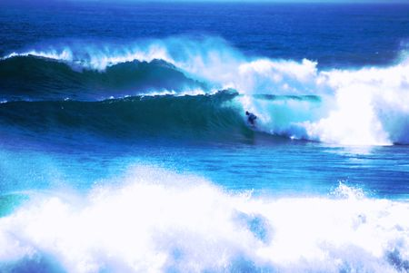 big scenery: Offshore storm is creating big waves for the surfers in Malibu and Southern California.