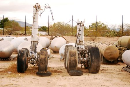 total loss: This old landing gear has seen its final takeoff and landing.