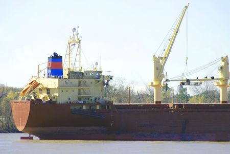 Freight Tanker anchored in New Orleans, Louisiana on the mighty Mississippi River.