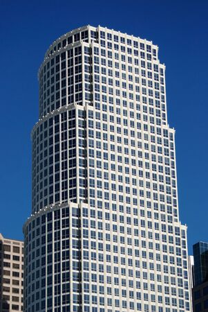 Corporate business goes global.  This building is located in downtown Los Angeles, California.  There are a lot of windows provided for forward thinking, business vision, perspective and great views of sunny Southern California.