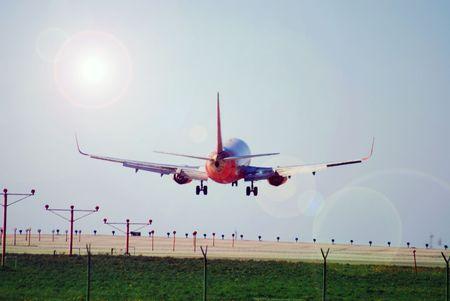 N�gel Pilot die Landung auf dieser kommerzielle Passagierflugzeug Flugzeug f�r einen anderen sicheren Landung in Los Angeles, Kalifornien, und das Ziel Ihrer Wahl. Lizenzfreie Bilder