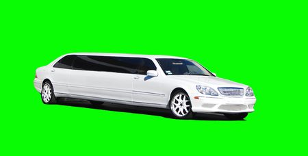 White Stretch Limousine isolated over bright green background for ease of use in media.