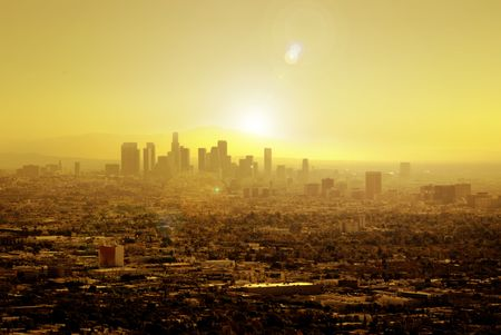soaks: Sunrise soaks Los Angeles for another sunny day in warm Southern California.