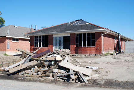 midst: Damaged house in the midst of renovation in the aftermath of Hurricane Katrina.