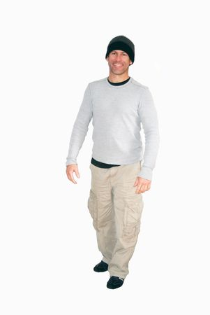 Man dressed for a day of hiking outdoors isolated over a white background.