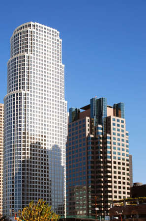 Close up of modern corporate buildings in downtown Los Angeles, California on a clear blue sunny day.