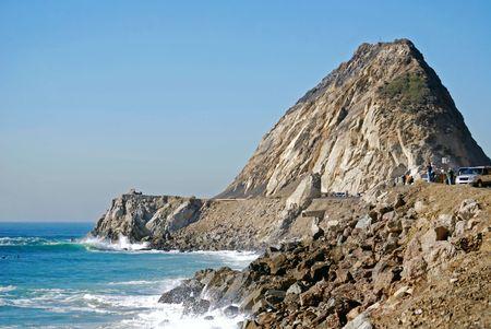 treacherous: Rock jets up to the sky on the coastline near Los Angeles and Malibu, California in Point Mugu State Park.