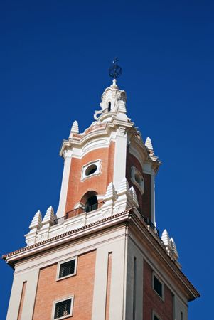 Architecture detail of steeple at the University in Madrid, Spain, Europe.