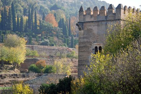 Landscaped terraced hillside and castle of Charles V in Alhambra, in Granada, Spain, Europe. 新闻类图片