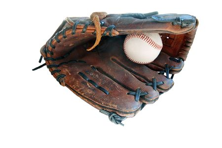 Baseball and Leather Glove isolated over white background.