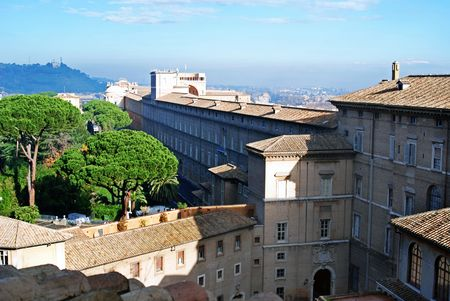 Trees line the courtyard outside the Vatican overlooking Rome, Italy, Europe.