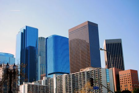 Modern buildings in Los Angeles California from First Street. Stock Photo