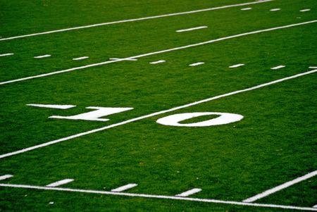 Zehn Meter zum Ergebnis sechs Punkte, ein touchdown. Lizenzfreie Bilder
