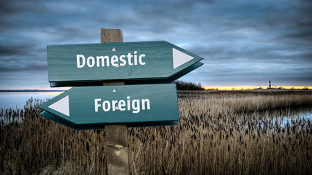 Street Sign Domestic versus Foreign Stock Photo