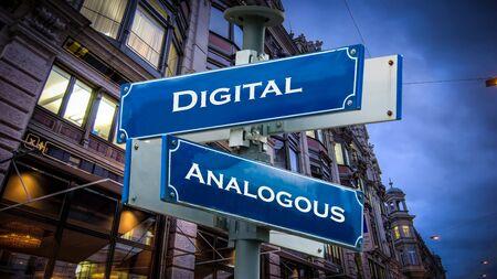 Street Sign Digital versus Analogous Imagens