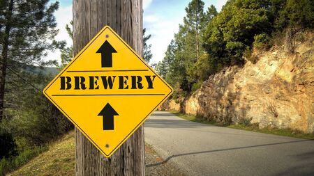 Street Sign to Brewery 写真素材
