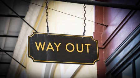 Street Sign WAY OUT Imagens