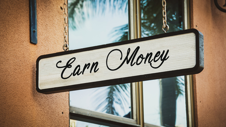 Street Sign Earn Money Stock Photo