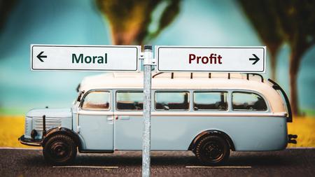 Street Sign Moral versus Profit