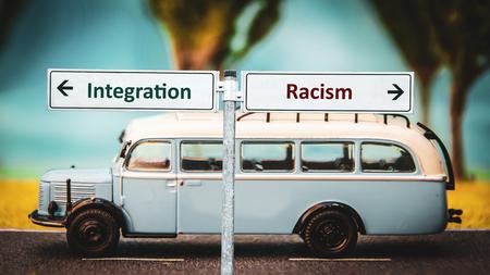 Street Sign Integration versus Racism Banco de Imagens - 121022314