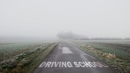 Street Sign DRIVING SCHOOL Stockfoto