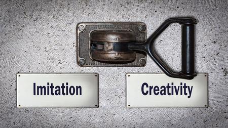 Wall Switch Street Sign Creativity versus Imitation Reklamní fotografie