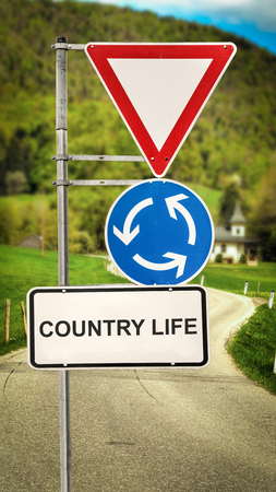 Street Sign the Direction Way to  Country Life 写真素材