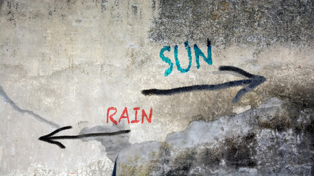 Street Graffiti the Direction Way to Sun versus Rain