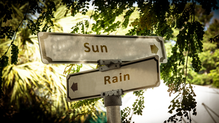 Street Sign the Direction Way to Sun versus Rain